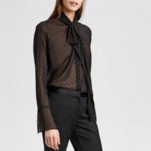 Theory Black Metallic Silk Scarf Shirt